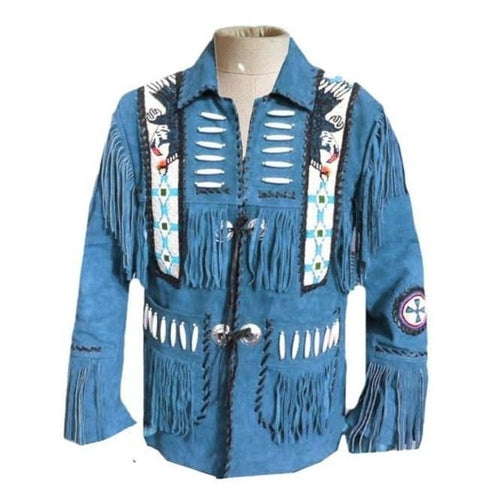 leather404 Clothing, Shoes & Accessories:Men's Clothing:Coats & Jackets s Men's Western Suede Jacket, Handmade Blue Cowboy Fringe Suede Jacket