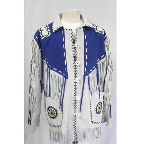 leather404 Clothing, Shoes & Accessories:Men's Clothing:Coats & Jackets s Men's Western Suede Jacket Wear Fringes Beads Native American Cowboy Blue White Jacket