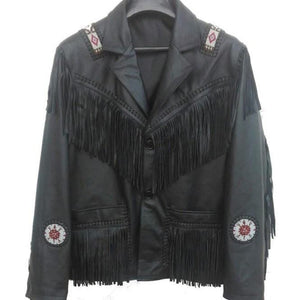 leather404 Clothing, Shoes & Accessories:Men's Clothing:Coats & Jackets s Men's Western Leather Jacket, Black Cowboy Leather Fringe Jacket