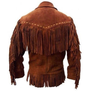 leather404 Clothing, Shoes & Accessories:Men's Clothing:Coats & Jackets Men's Western Suede Jacket, Tan Color Cowboy Suede Fringe Jacket