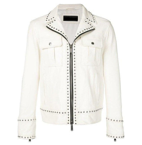 leather404 Clothing, Shoes & Accessories:Men's Clothing:Coats & Jackets s Men's White Studded Leather Jacket, Men's Motorcycle Fashion Leather Jacket