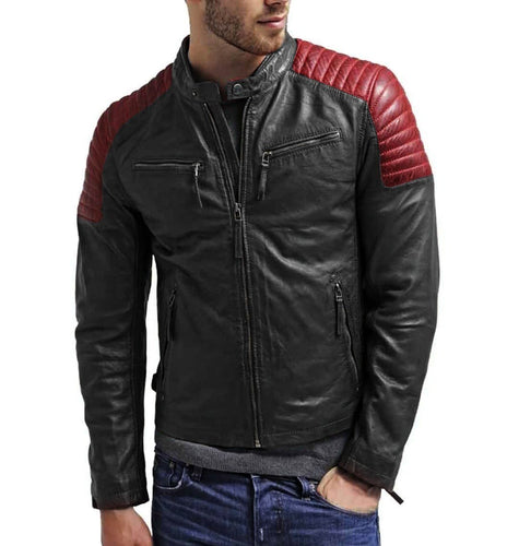 leather404 Clothing, Shoes & Accessories:Men's Clothing:Coats & Jackets s Men black Red leather jacket, Motorbike Designer Leather Men
