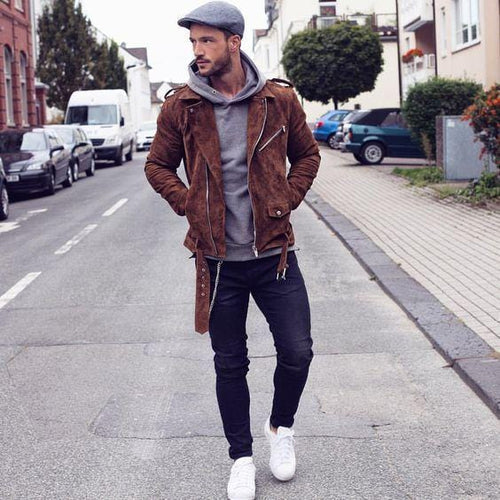 leather404 Clothing, Shoes & Accessories:Men's Clothing:Coats & Jackets s New Men's brown suede biker jacket, Men's biker Suede Belted jackets