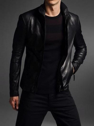 leather404 Clothing, Shoes & Accessories:Men's Clothing:Coats & Jackets s Men's slim fit leather jacket men's leather jacket Men's black fashion leather jacket