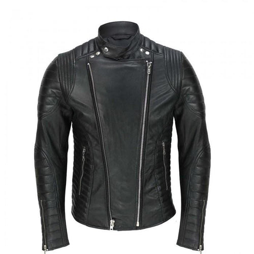 leather404 Clothing, Shoes & Accessories:Men's Clothing:Coats & Jackets Men's Vintage Designer Quilted Panel Style Sheep Leather Biker Black Jacket