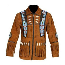 leather404 Clothing, Shoes & Accessories:Men's Clothing:Coats & Jackets s Men's Brown Cowboy Genuine Suede Jacket Cowboy Suede With Fringes