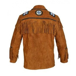 leather404 Clothing, Shoes & Accessories:Men's Clothing:Coats & Jackets Men's Brown Cowboy Genuine Suede Jacket Cowboy Suede With Fringes