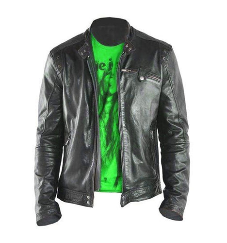 leather404 Clothing, Shoes & Accessories:Men's Clothing:Coats & Jackets Men's Fashion Black Genuine Lambskin Leather Biker Jacket