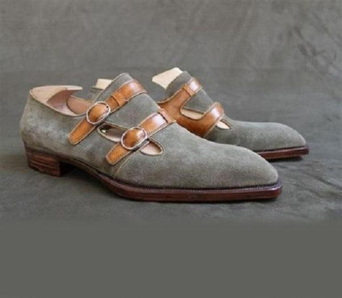 leather404 Clothing, Shoes & Accessories:Men's Shoes:Dress Shoes Gray Suede Leather Buckle Shoes For Men