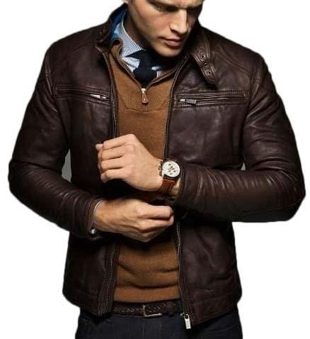 leather404 Clothing, Shoes & Accessories:Men's Clothing:Coats & Jackets s Men Brown Motorbike Leather Jacket, Classic Trendy Fashion Jacket