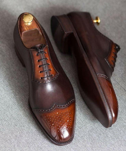 leather404 Clothing, Shoes & Accessories:Men's Shoes:Dress Shoes Mens Brown Lace-up Leather Oxford Shoes