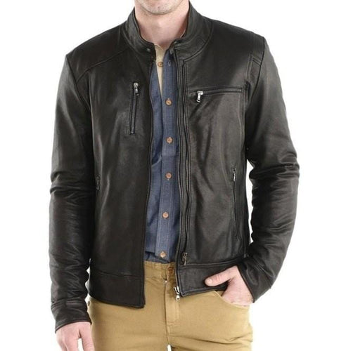 leather404 Clothing, Shoes & Accessories:Men's Clothing:Coats & Jackets s Handmade Men's Biker Leather Jacket, Black Leather Zipper Jacket Men's