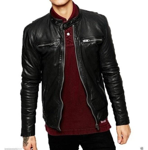 leather404 Clothing, Shoes & Accessories:Men's Clothing:Coats & Jackets s Men's Biker Leather Jacket, Handmade Fashion Black Leather Jacket