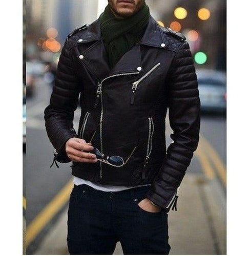 leather404 Clothing, Shoes & Accessories:Men's Clothing:Coats & Jackets s Men's Biker Leather Jacket Fashion Black Motorcycle Jacket, Men's Jackets