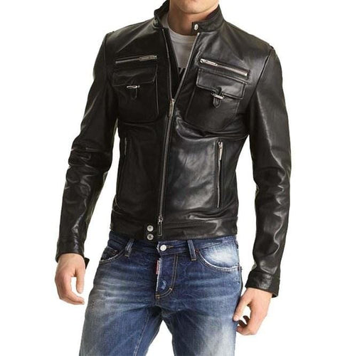 leather404 Clothing, Shoes & Accessories:Men's Clothing:Coats & Jackets s Men's Biker Leather Jacket Slim Fit Pocket Leather Jacket Fashion Black Jacket