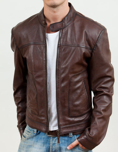 leather404 Clothing, Shoes & Accessories:Men's Clothing:Coats & Jackets s Men's Biker Motorcycle Brown Real Leather Jackets