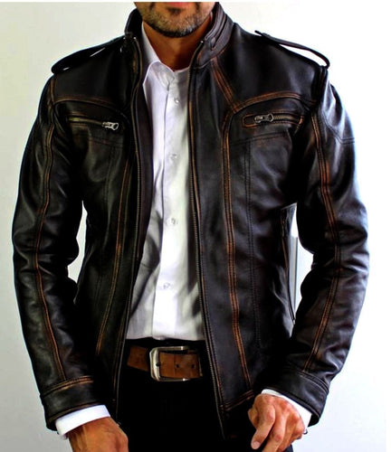 leather404 Clothing, Shoes & Accessories:Men's Clothing:Coats & Jackets s Mens Biker Motorcycle Vintage Cafe Racer Distressed Brown Real Leather Jacket