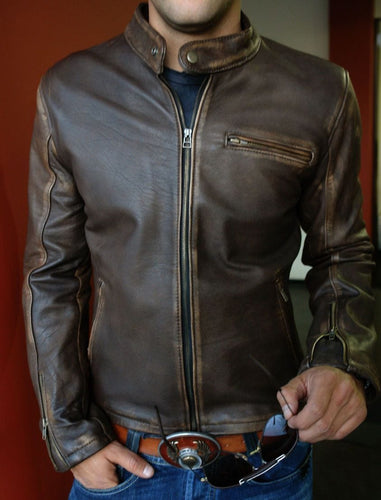 leather404 Clothing, Shoes & Accessories:Men's Clothing:Coats & Jackets New Men's Biker Vintage Motorcycle Distressed Brown Cafe Racer Leather Jackets