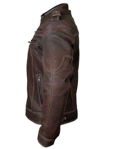 leather404 Clothing, Shoes & Accessories:Men's Clothing:Coats & Jackets s Men's Biker Vintage Motorcycle Distressed Brown Cafe Racer Leather Zipper Jackets