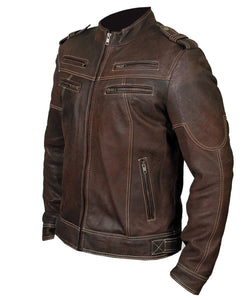 leather404 Clothing, Shoes & Accessories:Men's Clothing:Coats & Jackets Mens Biker Vintage Motorcycle Distressed Brown Cafe Racer Leather Stylish Jacket
