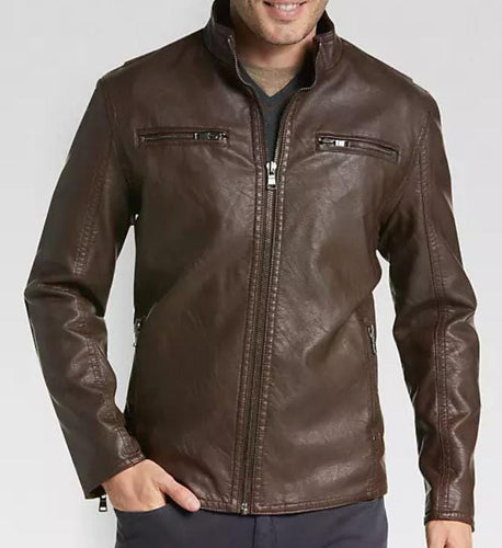 leather404 Clothing, Shoes & Accessories:Men's Clothing:Coats & Jackets s Men's Dark Brown Modern Fit, Designer Biker Fashion Genuine Leather Jacket