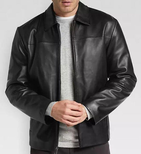 leather404 Clothing, Shoes & Accessories:Men's Clothing:Coats & Jackets s Men's Black Modern Fit Moto Leather Jacket, Designer Biker Fashion Genuine Leather Jacket