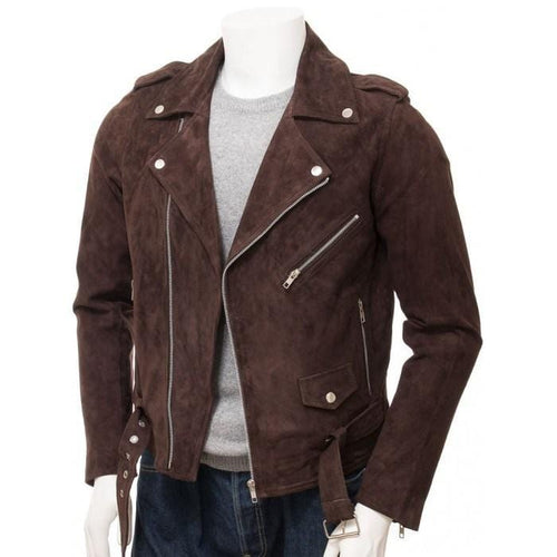 leather404 Clothing, Shoes & Accessories:Men's Clothing:Coats & Jackets Handmade Men's Brown Suede Biker Motorcycle Fashion Belted Jacket