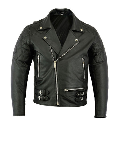 leather404 Clothing, Shoes & Accessories:Men's Clothing:Coats & Jackets Mens Classic Leather Brando Jacket Biker Motorbike Motorcycle Vintage