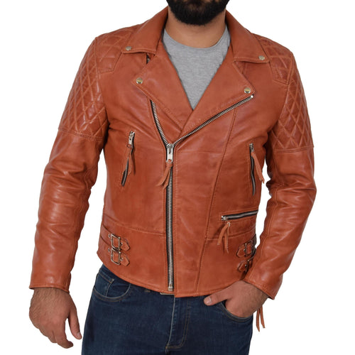 leather404 Clothing, Shoes & Accessories:Men's Clothing:Coats & Jackets s Men's Cross Zip Biker Leather Jacket Tan Fashion Casual Outwear Jacket