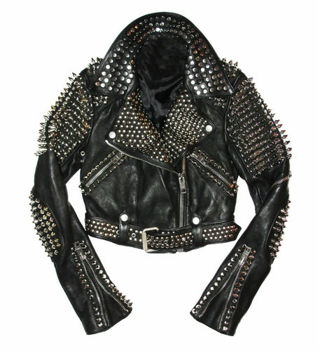 leather404 Clothing, Shoes & Accessories:Men's Clothing:Coats & Jackets s Mens Full Black Punk Brando Silver Spiked Studded Cowhide Leather Jacket