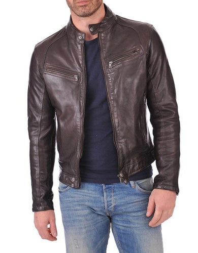 leather404 Clothing, Shoes & Accessories:Men's Clothing:Coats & Jackets Men's Genuine Lambskin Leather Chocolate Brown Bomber Slim Fit Biker Leather Jacket