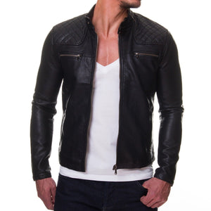 leather404 Clothing, Shoes & Accessories:Men's Clothing:Coats & Jackets s Mens Genuine Lambskin Leather Quilted Motorcycle Jacket Slim fit Biker Jacket