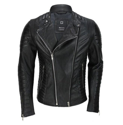 leather404 Clothing, Shoes & Accessories:Men's Clothing:Coats & Jackets Men's Genuine Real Lambskin Black Leather Biker Jacket, New Motorcycle Jacket