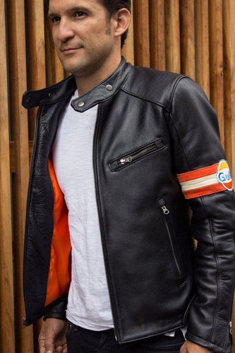 leather404 Clothing, Shoes & Accessories:Men's Clothing:Coats & Jackets Men's Gulf Leather Jacket Retro Vintage Cafe Racer Black Leather Jacket