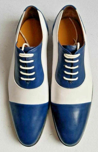 leather404 Clothing, Shoes & Accessories:Men's Shoes:Dress Shoes Men's White Blue Leather  Stylish Shoes