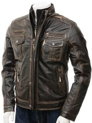 leather404 Clothing, Shoes & Accessories:Men's Clothing:Coats & Jackets Men's Leather Jacket in Brown, Ruboff Genuine biker leather jacket  men's