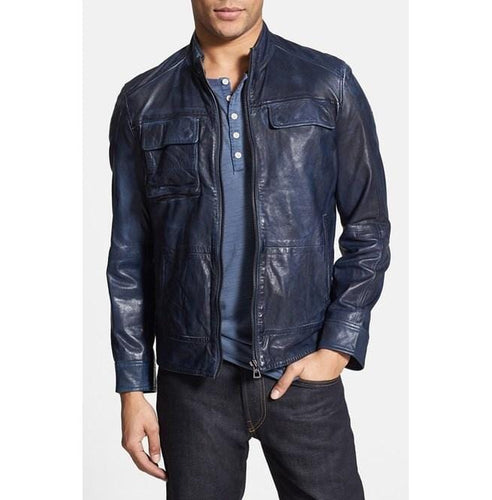 leather404 Clothing, Shoes & Accessories:Men's Clothing:Coats & Jackets s Men's Leather Jacket, Blue Color Jacket, Biker Leather Jacket For Men