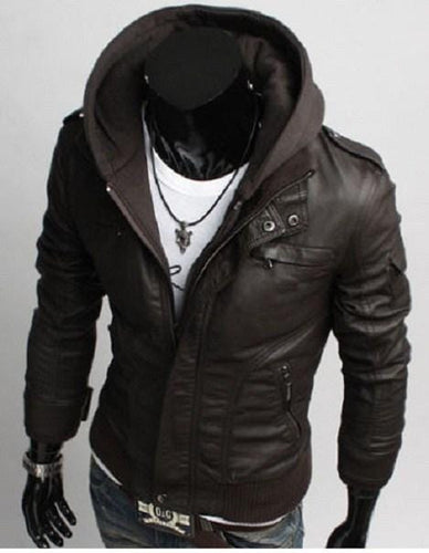 leather404 Clothing, Shoes & Accessories:Men's Clothing:Coats & Jackets s Men's Leather Dark Brown Jackets Korean Style Casual Slim Fit Men fabric hooded jacket