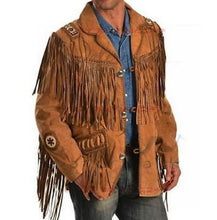 leather404 Clothing, Shoes & Accessories:Men's Clothing:Coats & Jackets Men's Tan Brown Western Suede Cow Leather Jacket Fringes, Cowboy Jackets