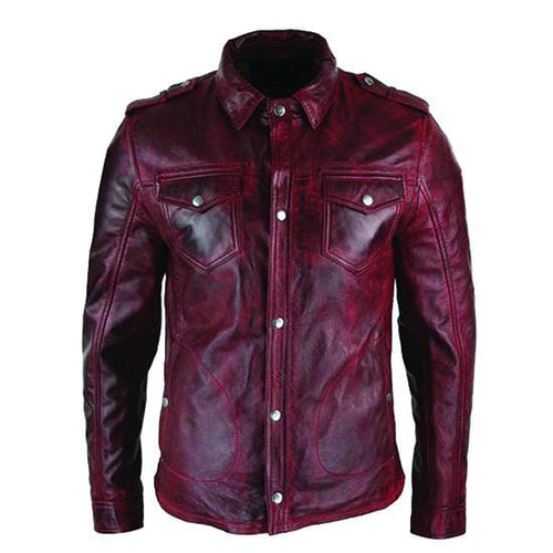 leather404 Clothing, Shoes & Accessories:Men's Clothing:Coats & Jackets Men's Button Leather Burgundy Jacket