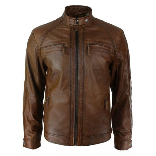 leather404 Clothing, Shoes & Accessories:Men's Clothing:Coats & Jackets Men's Retro Style Zipped Biker Jacket Real Leather Soft Brown Casual Jacket