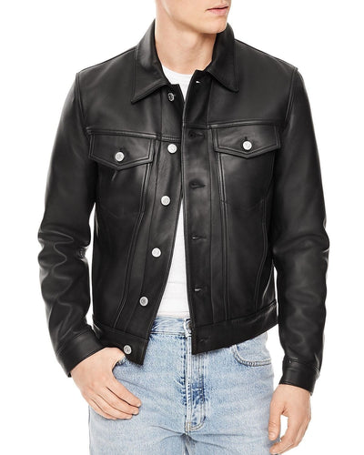 leather404 Clothing, Shoes & Accessories:Men's Clothing:Coats & Jackets s Men's Slim fit Black Trucker Leather Jacket, Men's genuine leather jacket for men's