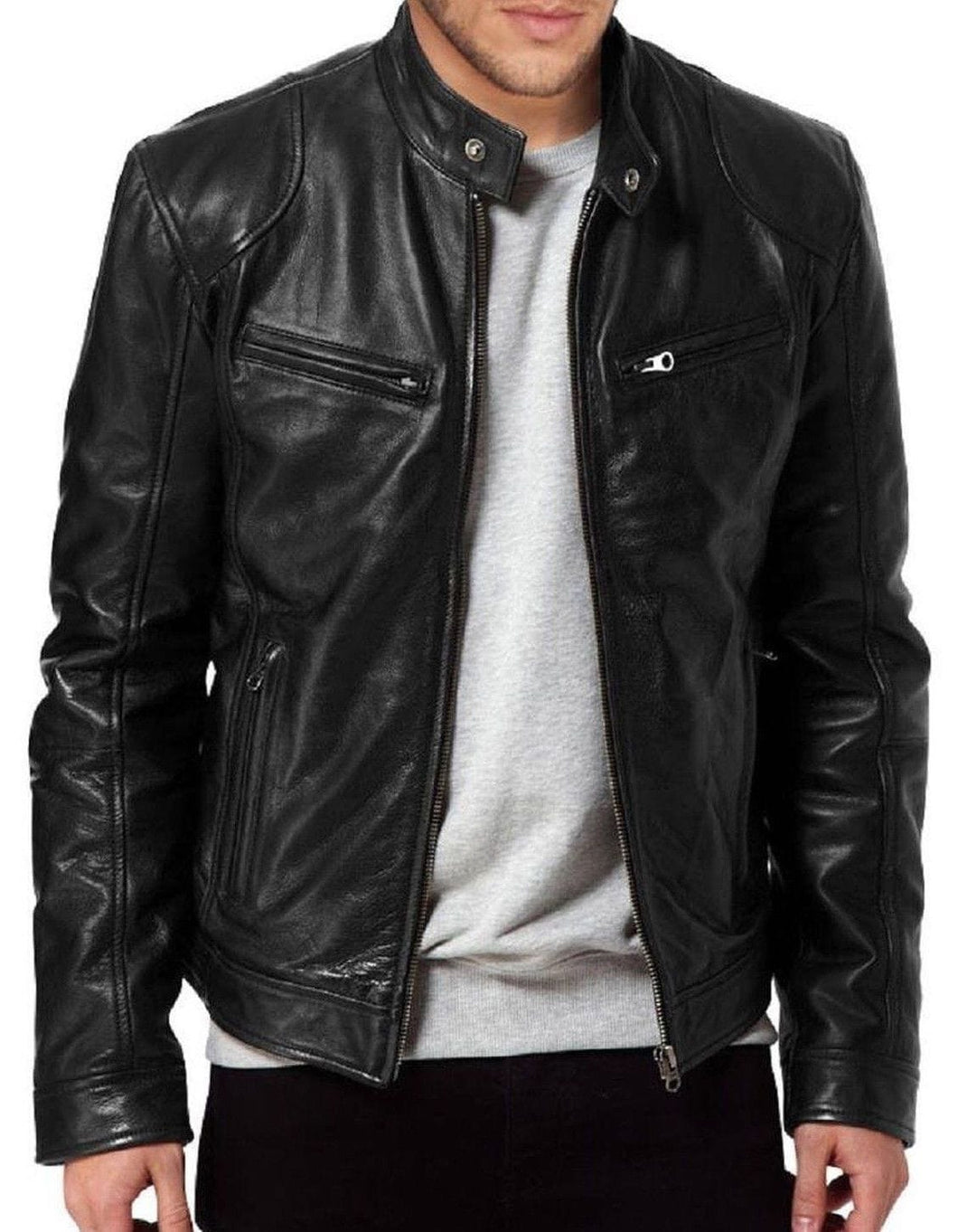 leather404 Clothing, Shoes & Accessories:Men's Clothing:Coats & Jackets s Men's Vintage Cafe Racer Black Retro Motorcycle Real Biker Leather Jacket