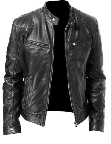leather404 Clothing, Shoes & Accessories:Men's Clothing:Coats & Jackets Men's Vintage Cafe Racer Black Retro Motorcycle Real Biker Leather Jacket