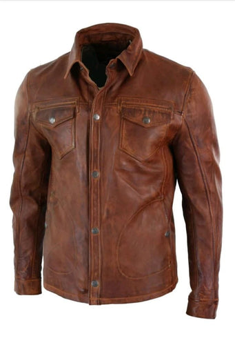 leather404 Clothing, Shoes & Accessories:Men's Clothing:Coats & Jackets s Mens Vintage Distressed Brown Leather Shirt Jacket, Genuine Biker Jacket