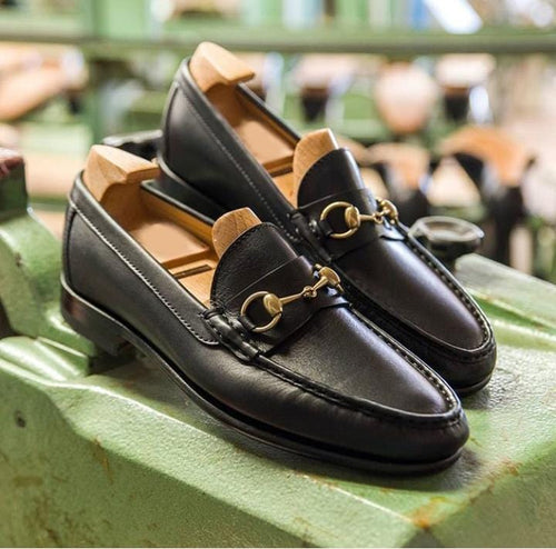 leather404 Clothing, Shoes & Accessories:Men's Shoes:Dress Shoes Mens Black Loafers Moccasin Shoes