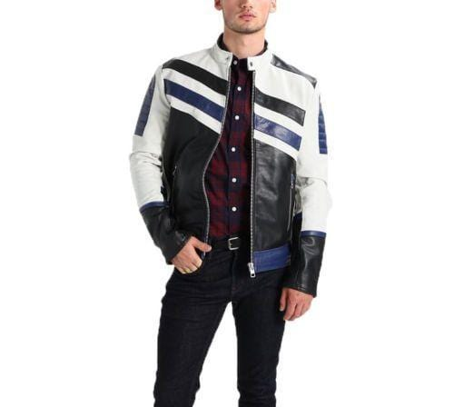 leather404 Clothing, Shoes & Accessories:Men's Clothing:Coats & Jackets Men's Genuine Lambskin Leather Navy White Classic Jackets