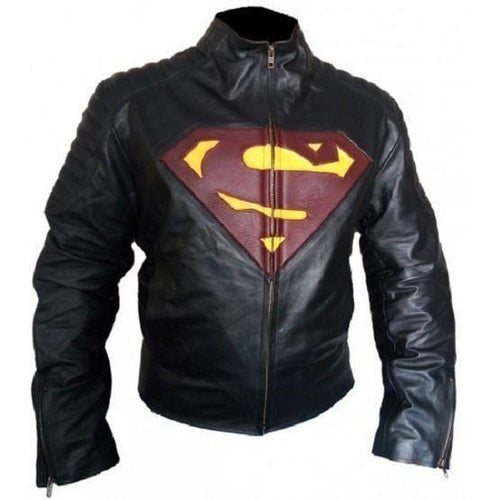 leather404 Clothing, Shoes & Accessories:Men's Clothing:Coats & Jackets s Customized Men's Handmade Black Leather Red Super Man Style Biker Leather Jackets