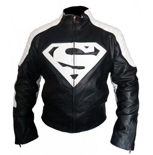 leather404 Clothing, Shoes & Accessories:Men's Clothing:Coats & Jackets s Men's Handmade Black White Super Man Style Biker Leather Jacket