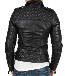 leather404 Clothing, Shoes & Accessories:women's Clothing:Coats & Jackets Handmade Leather Skin Women Black Padded Diamond Quilted Brando Leather Jackets